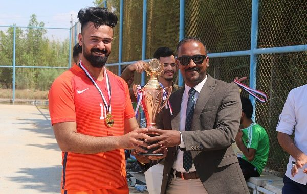 نظمت كلية التقانات الاحيائية/ جامعة القادسية مسابقة رياضية لكرة القدم الخماسية