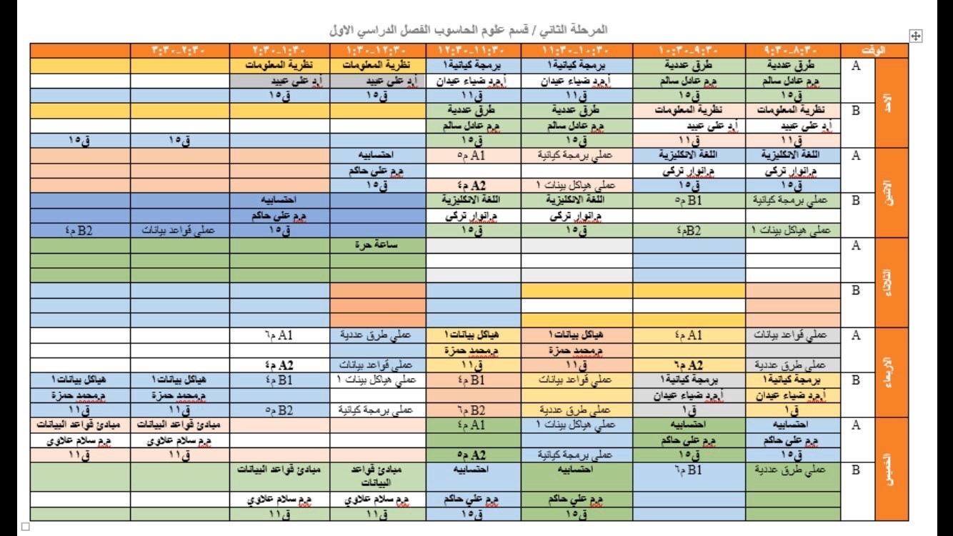 جدول المحاضرات  الأسبوعي لقسم الحاسوب /الفصل الدراسي الاول /بعد التحديث