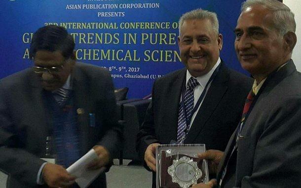 عميد كلية التربية أ.د خالد العادلي يشارك في المؤتمر الدولي الثالث للكيمياء والمنعقد في جامعة SRMفي نيودلهي الهند