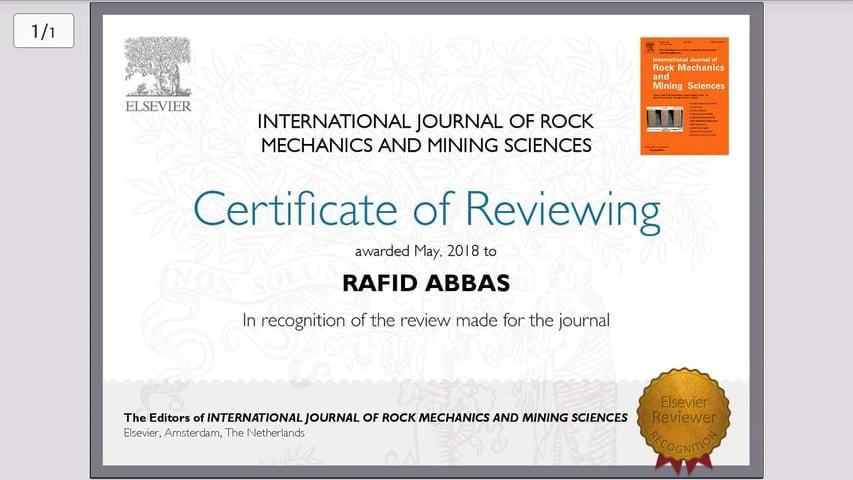 المجلة العالمية لميكانيك الصخور وعلم المناجم تمنح شهادة تقدير لتدريسي في كلية الهندسة