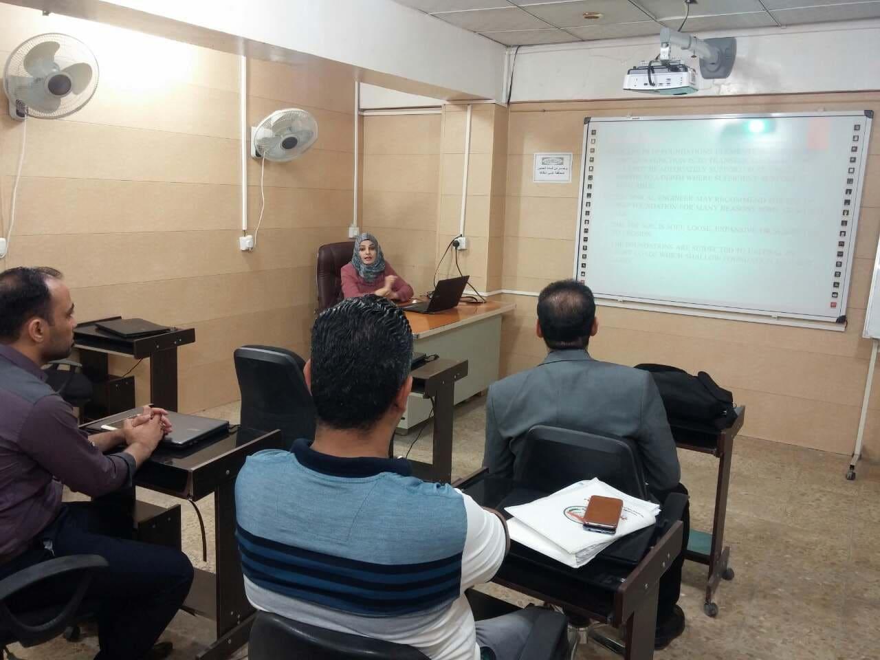 كلية الهندسة تقيم ورشة علمية حول انواع وطرق تحليل الاسس العميقة (الركائز)