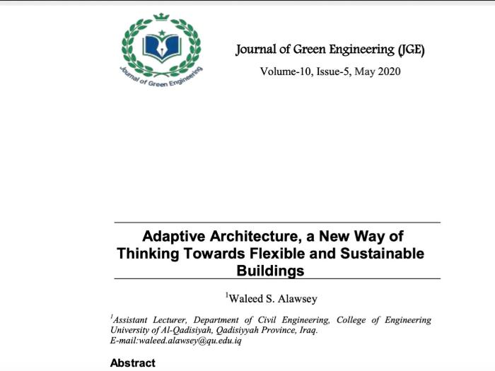 مجلة الهندسة الخضراء العالمية تنشر بحث تدريسي من كلية الهندسة