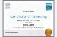 تدريسي من كلية الهندسة يحصل على شهادتين تقديريتين من مؤسسة دار النشر Elsevier العالمية