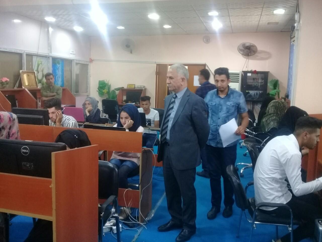 كلية العلوم في جامعة القادسية تجري الامتحان الالكتروني لمادتي الحاسبات واللغة الانكليزية
