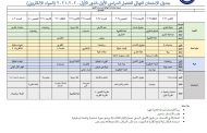 جدول الامتحان النهائي للفصل الدراسي الاول-الدور الاول 2020-2021 (المواد الالكتروني)