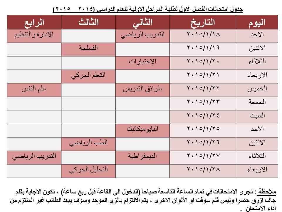 جدول امتحانات الفصل الاول لطلبة المراحل الاولية للعام الدراسي (2014 – 2015)