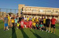مباراة بكرة القدم بين طلبة الدراسة المسائية وفريق الدفاع المدني