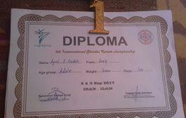 فوز الطالب عقيل سليم بالميدالية الذهبية ببطولة ايران للكاراتية