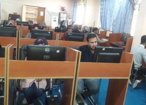 كلية العلوم في جامعة القادسية تجري امتحان اللغة الانكليزية الكترونيا للدراستين الصباحية والمسائية ولجميع اقسام الكلية