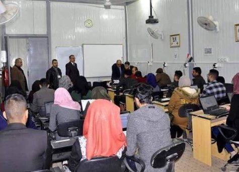 """كلية الهندسة في جامعة القادسية تجري امتحان اللغة الانكليزية الكترونيا"""" للدراستين الصباحية والمسائية"""