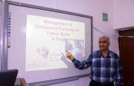 كلية الطب البيطري في جامعة القادسية تعقد حلقة نقاشية بعنوان (( الكسور المركبة لعظم الفخذ في الكلاب))