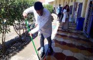 كلية العلوم في جامعة القادسية تنظم حملة تطوعية لتنظيف الكلية