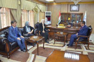 رئيس جامعة القادسية الاستاذ الدكتور كاظم جبر الجبوري يلتقي وفد اللجنة الوزارية المكلفة بزيارة المكتبات في جامعات العراق