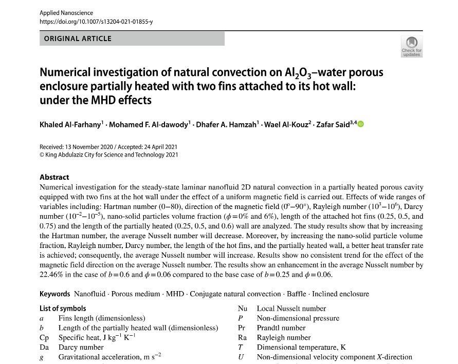 مجلة علم النانو التطبيقي تنشر بحث لتدريسيين من كلية الهندسة جامعة القادسية…