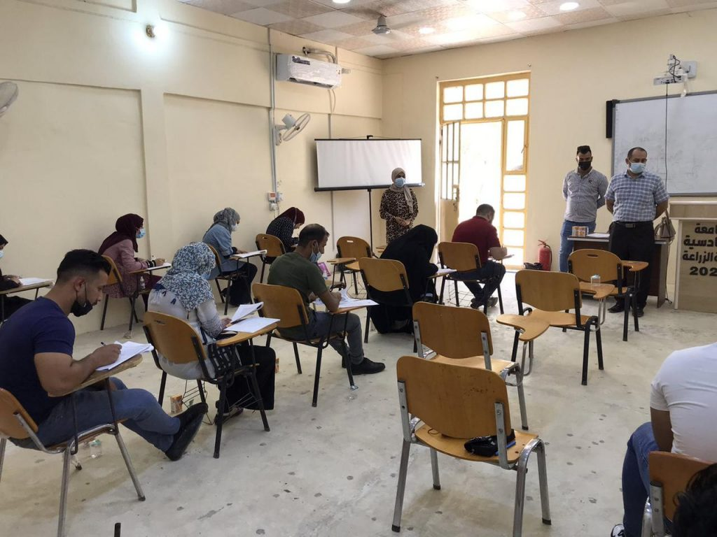 تواصل الامتحانات النهائية  الحضورية للدراسات الاولية في كلية الزراعة بجامعة القادسية